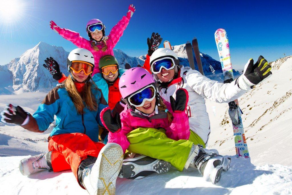 Family enjoying skiing