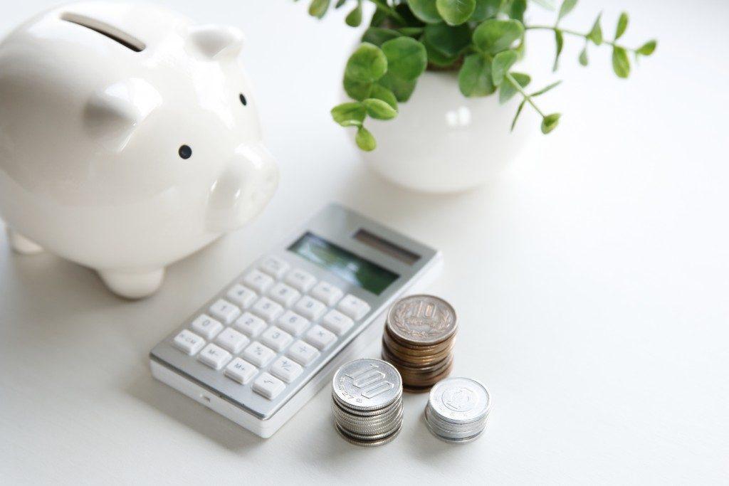 Coins, Calculator, Piggy Bank