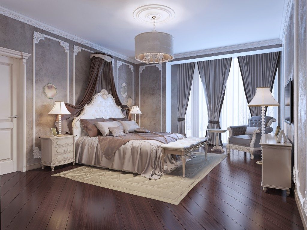 Grand bedroom with wallpaper