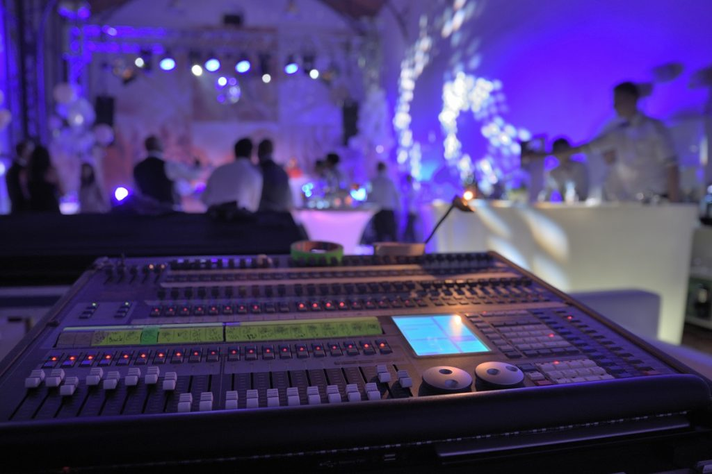 Sound adn lighting system at a wedding reception