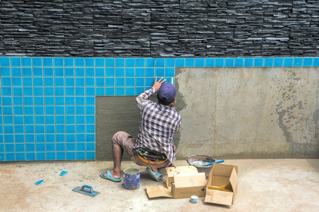 Construction work on the pool