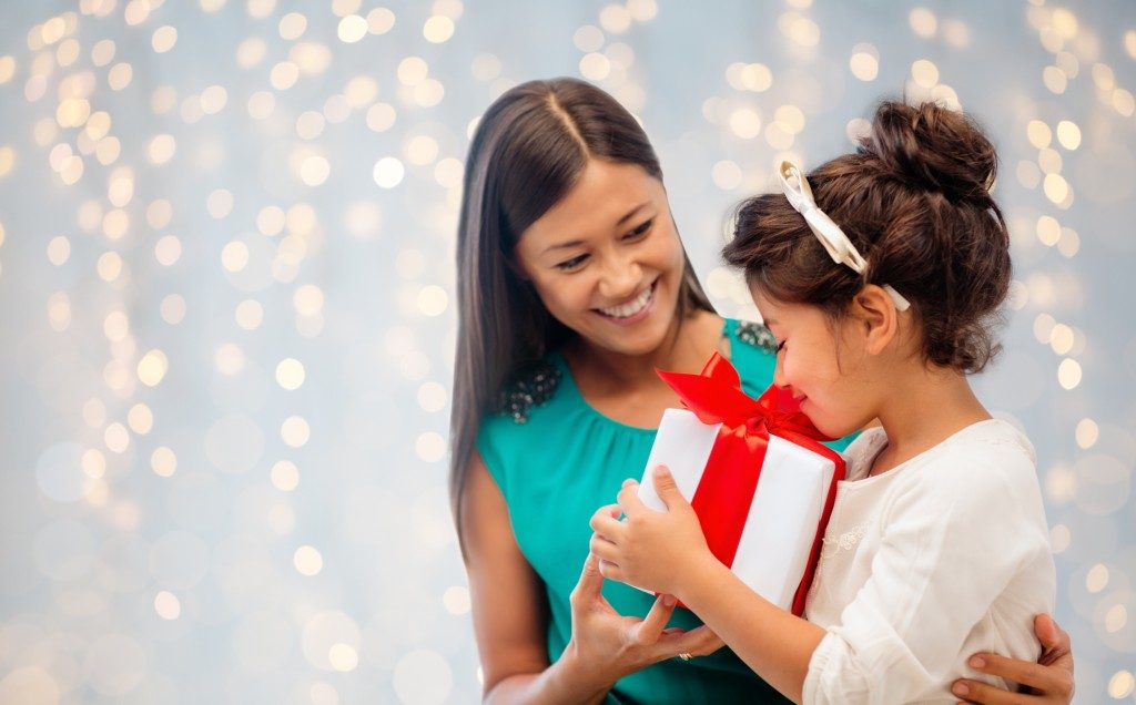 a child with a gift