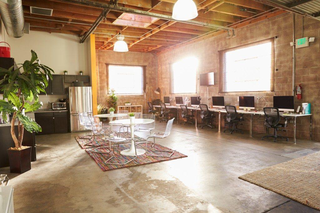 Modern office design with kitchen