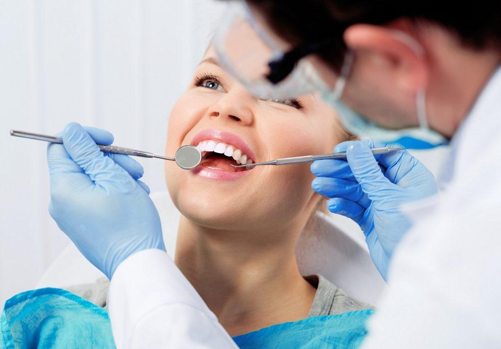 Female having her dental checkup