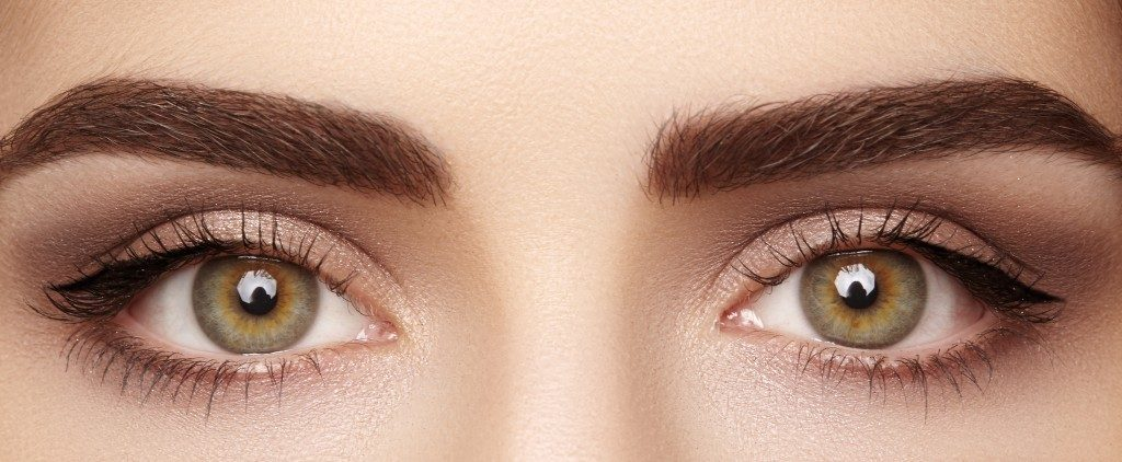 close up of woman's eyes and brows