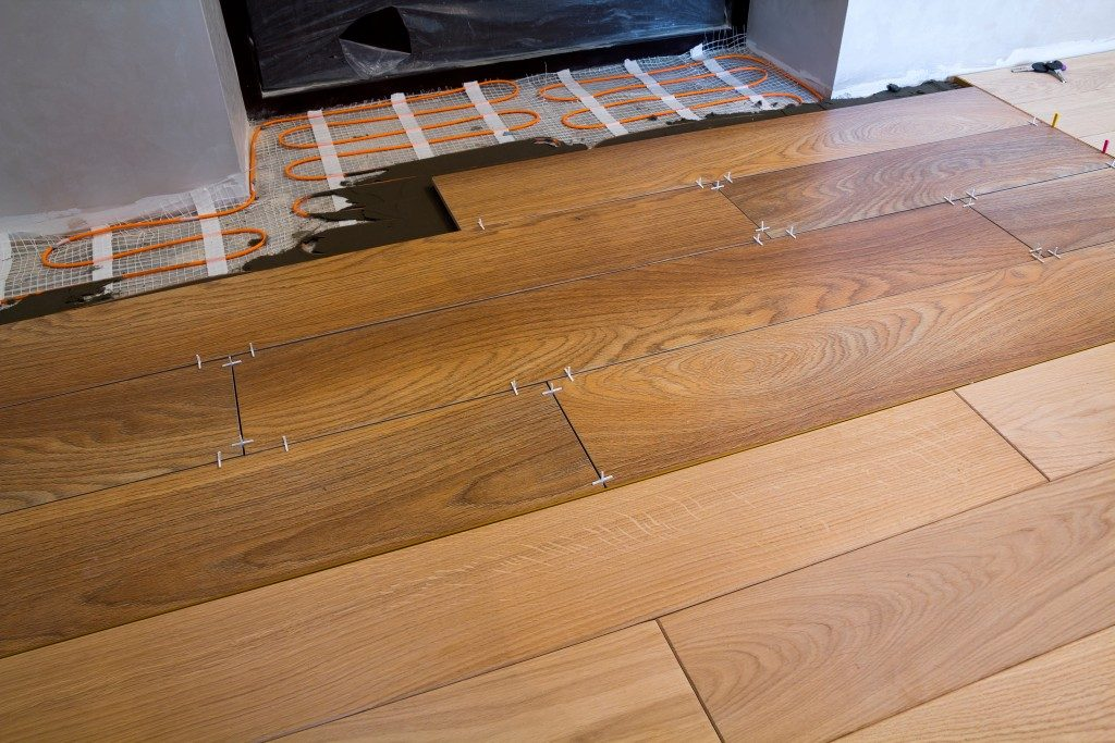 wooden flooring in living room