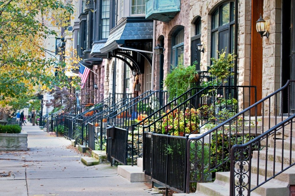 townhouses in a sub urban street