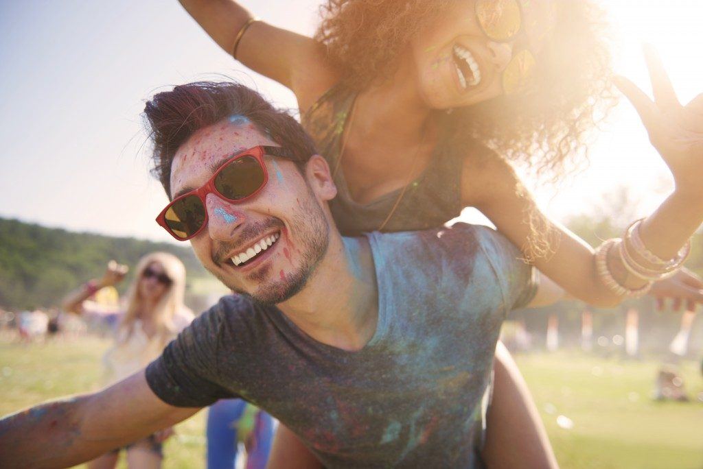 Couple in a music festival