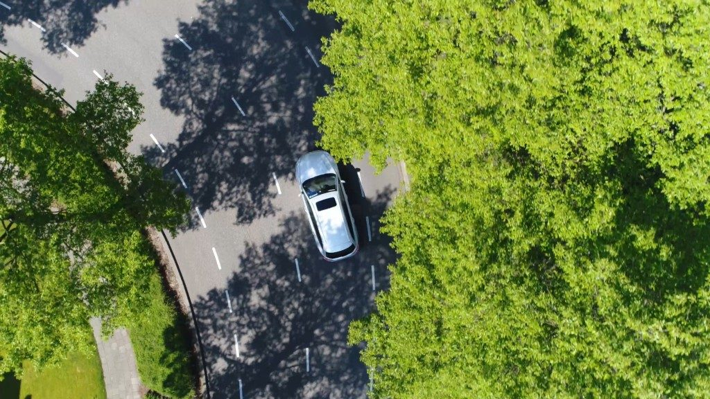 Birds eye view of car on the road