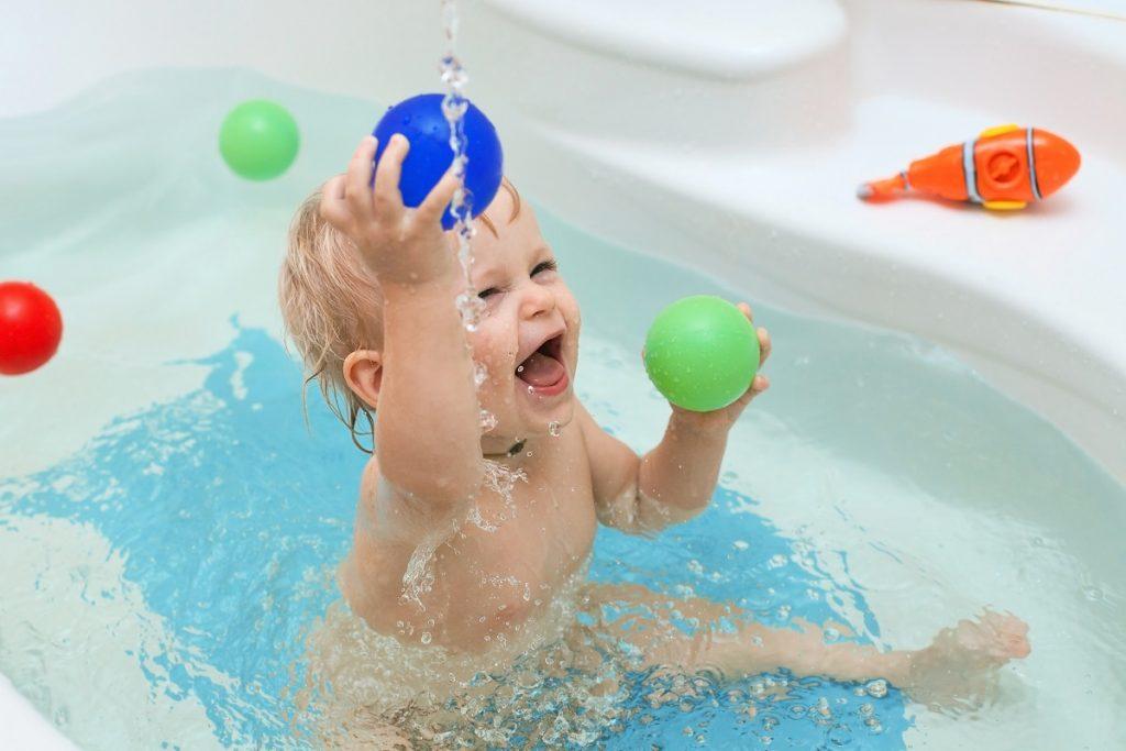 kid taking a bath