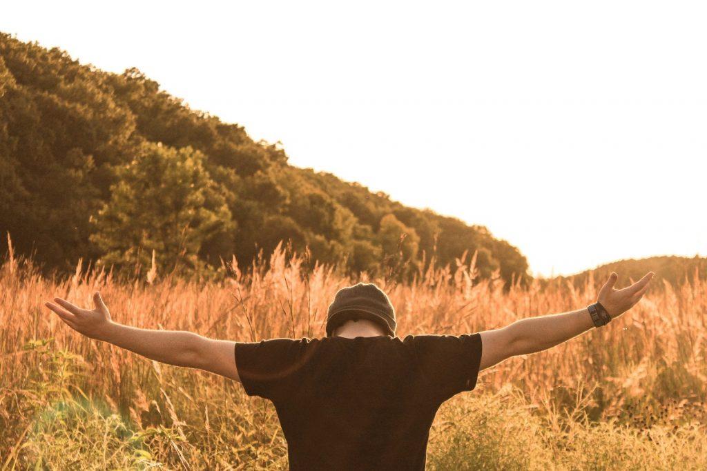 Man appreciating nature