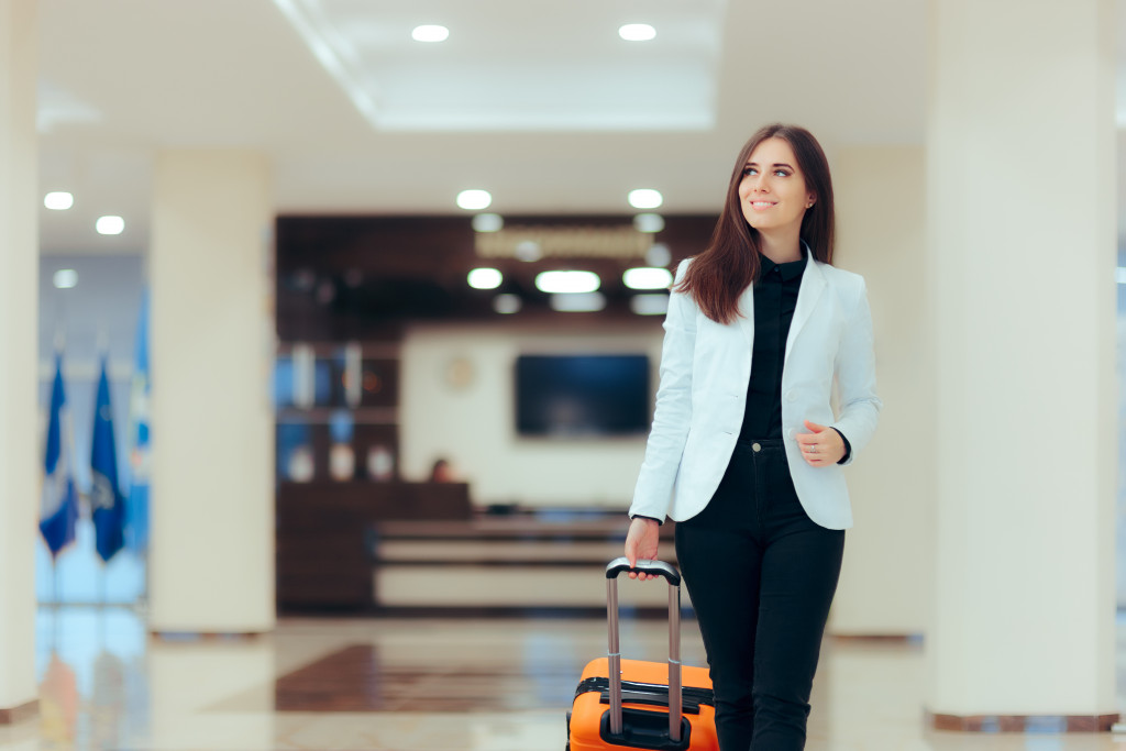 woman with luggage bag