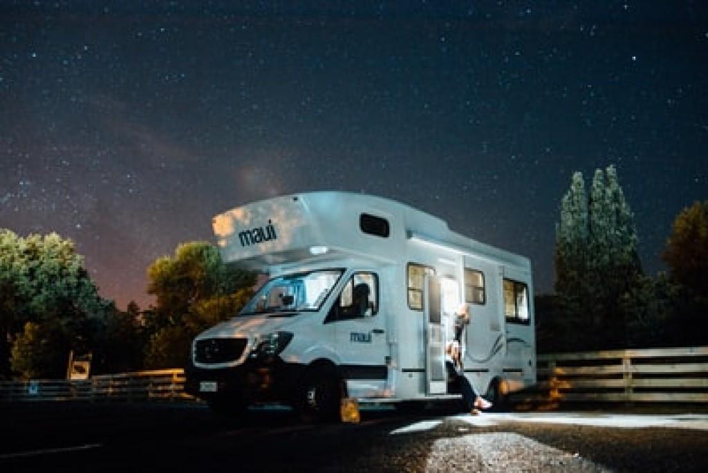 RV under the night sky